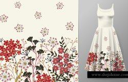 可爱的图案在小的简单的花。无缝的背景和无缝的边界。这件连衣裙图案的一个例子。插图。红黑加白。