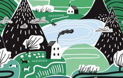 手绘矢量抽象斯堪的纳维亚图形插图无缝图案与房屋,树木和山脉。北欧自然景观概念。