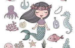 海洋插图集。可爱的卡通美人鱼,有趣的鱼,海星,瓶子,有笔记,海藻,各种贝壳和螃蟹。海洋主题。白色背景上的孤立对象。矢量。