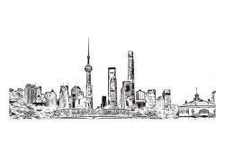 上海建筑景观。中国中部沿海是中国最大的城市和全球金融中心。用矢量绘制的手绘素描插图。