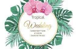 热带婚礼事件访问模板。花环框架装饰布置。奇异的丛林,热带雨林,棕榈树,绿叶。粉红色紫色兰花。