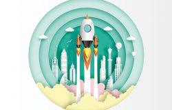 火箭飞行的纸艺术风格