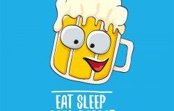 吃睡眠,啤酒,重复矢量,概念,插图或夏季邮报。