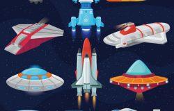 火箭载体飞船或航天器和空间飞碟示意图