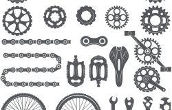 齿轮,链条,车轮和自行车的其他不同部分。