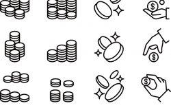 硬币和手用细线条造型的图标