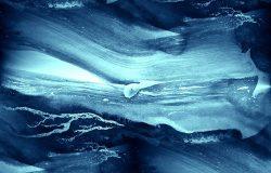水彩画水蓝色海浪水彩无缝纹理手绘背景