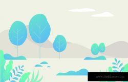 蓝色树幻想色彩空间矢量插图平面设计
