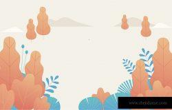 幻想曲背景模板矢量插图平面设计