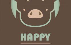 新的2019年快乐。中国猪年。贺卡。矢量EPS 10插图和图片可用。