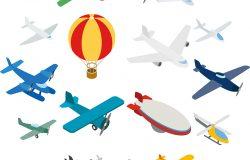 航空图标在等距三维风格。平面集孤立向量图