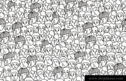 男子脸图标-手绘无缝图案,矢量图用于织物、布、包、壁饰、家具、印刷媒体。黑白背景设计。