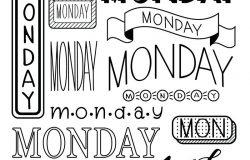 周一书名的手写体。每日计划的标题,计划,子弹日记记录。十八个版本的写作日。日历装饰模板