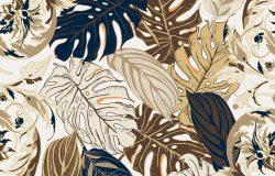 热带叶子和巴洛克花的无缝背景