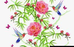 五颜六色的手绘花纹,以竹、樱花、热带花、日本玫瑰、牡丹花、蜂鸟、蝴蝶为一体。古典传统民俗插画