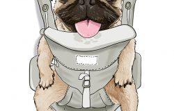 可爱的小狗在前托架上插画有趣的t恤