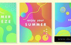 独特的艺术夏季卡,明亮的梯度,背景,形状和几何元素,孟菲斯风格。抽象的设计卡,完美的印刷,传单,横幅,邀请,特别优惠等。