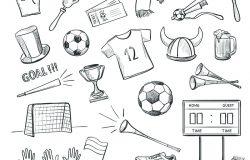 足球主题手绘集。白色背景下体育迷的属性