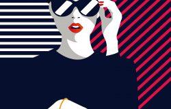 时尚女性流行艺术。矢量图