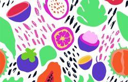 极小的夏季流行矢量瓷砖无缝图案在斯堪的纳维亚风格。外来水果片、植物叶和抽象元素。纺织品泳装图案设计,用于印刷,隔离在白色上。