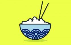 oriental rice bowl vector illustration