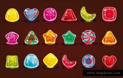 色彩斑斓的糖果细节电脑游戏应用程序界面矢量插图