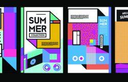夏季彩色海报设计模板。一套夏季销售背景和插图。