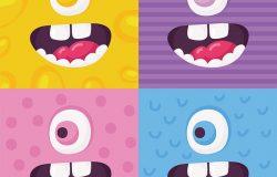 卡通怪物脸矢量集。可爱的方形化身a