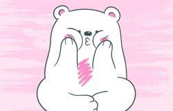 可爱的白色北极熊坐在莲花上的矢量插图,轻轻地吻着你,背景手绘人物扮演猿猴脸颊,空气亲吻