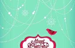 圣诞背景圣诞装饰品雪花和鸟