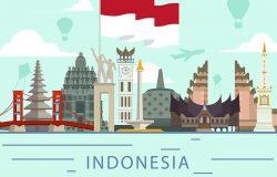 印有印尼国旗的印尼地标建筑
