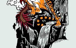 东方龙对老虎。佛教中的两种精神造物,代表着精神、天地和物质世界。纹身样式矢量图