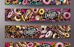 卡通可爱,彩色矢量,手绘涂鸦,甜甜圈,企业形象。4横幅设计。模板设置。所有对象分开