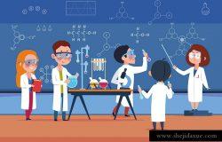 化学实验室的学生。科学实验室的孩子们做测试。卡通学生在课堂上的女孩和男孩。矢量图化学学校实验室教育实验科学实验室