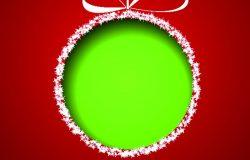 红色背景上从纸上切下来的绿色圣诞球。向量eps 10插图