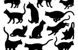 猫剪影宠物动物图形集
