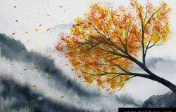 水彩画山景,山雾,枫树,独立,秋风落叶。传统东方水墨亚洲艺术风格