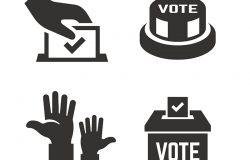 矢量投票图标与选民手选票盒,点击按钮投票手。民主选举投票剪影象征。