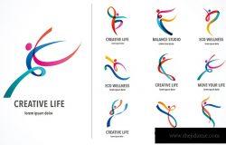 抽象人的标志设计。健身房健身跑步教练矢量彩色标志。健身体育舞蹈网页图标与符号
