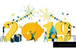 矢量图工作者庆祝圣诞节和新年的气氛,猪年。
