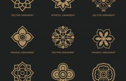 蒙古传统艺术图案(一套东方花形图标、符号和标志设计符号,矢量格式)矢量插图