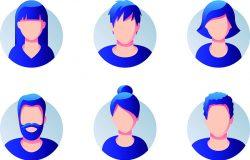 一套不同的圆形头像孤立在白色背景。不同的衣服和发型。简单的平面卡通风格与梯度。