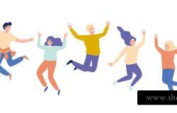 一群年轻快乐的笑着的人举手跳跃。学生们。矢量平面卡通插图孤立在白色背景上。