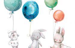 小野兔用气球飞。