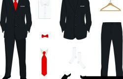 优雅的男装制服,夹克衫,裤子,衬衫和鞋,白色隔离。