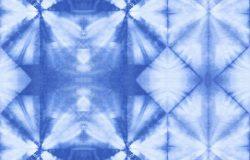 无缝管花纹抽象扎染织物,靛蓝色,白色棉。手绘织物。石硼染色