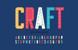 拼接字体,运行缝纫字母表字母和数字矢量插图