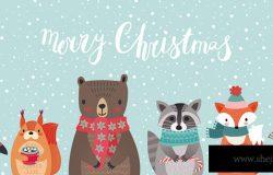 带有动物手绘风格的圣诞卡。林地人物有狐狸、浣熊、刺猬、企鹅和松鼠。矢量图