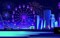 以夜城为背景的矢量概念背景
