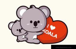 考拉拥抱心脏的插图。